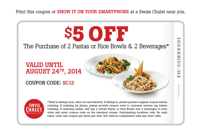 $5 OFF The Purchase of 2 Pastas or Rice Bowls & 2 Beverages. Valid Until August 24th, 2014. Print coupon