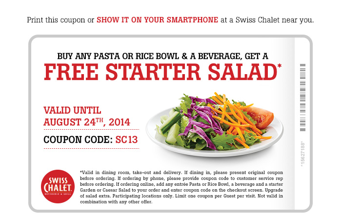Buy Any Pasta or Rice Bowl & a Beverage, Get A FREE Starter Salad*
