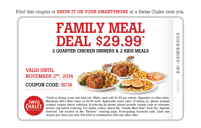 Family Meal Deal $29.99.