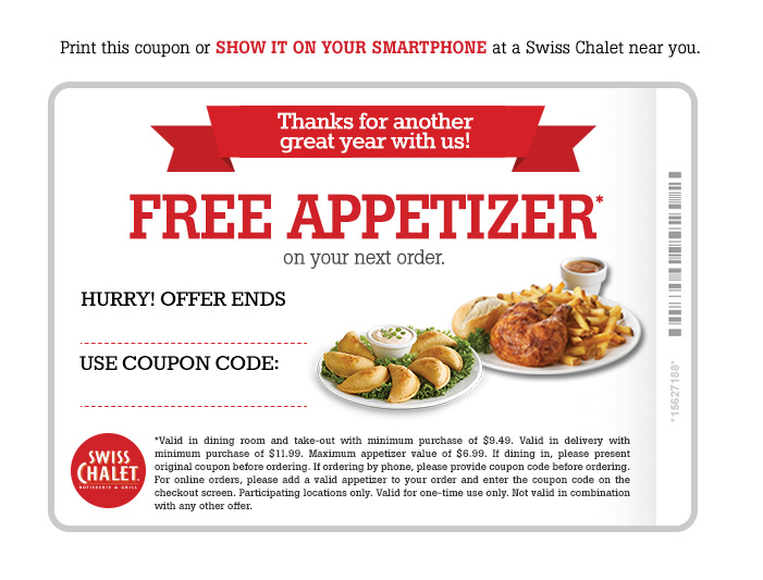 Free Appetizer* on your next order.