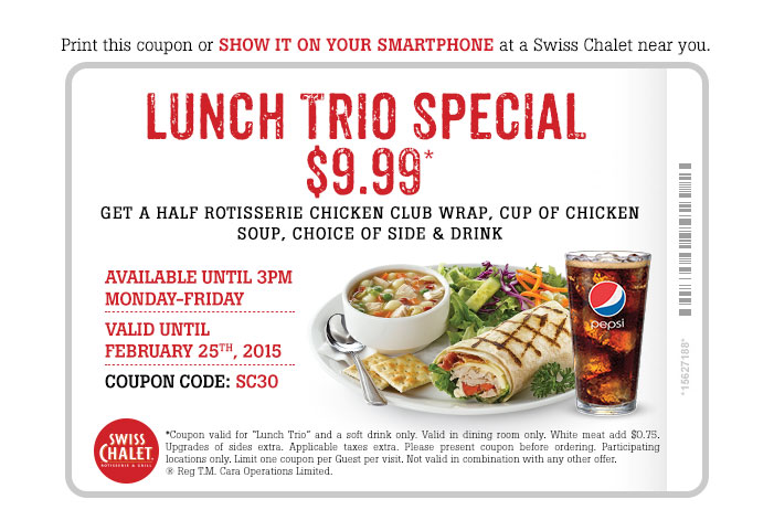Lunch trio special $9.99*. Print coupon.