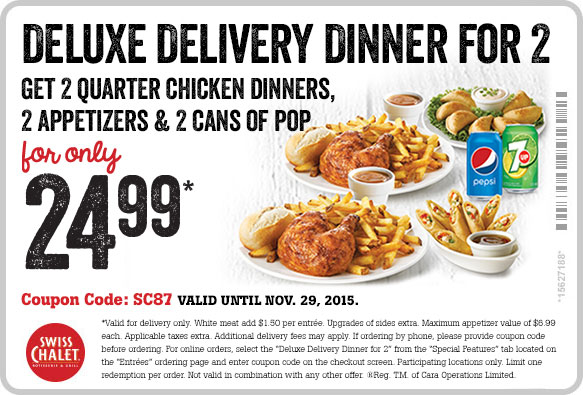 Delux Deliver Dinner for 2 for only $24.99* - Print Coupon