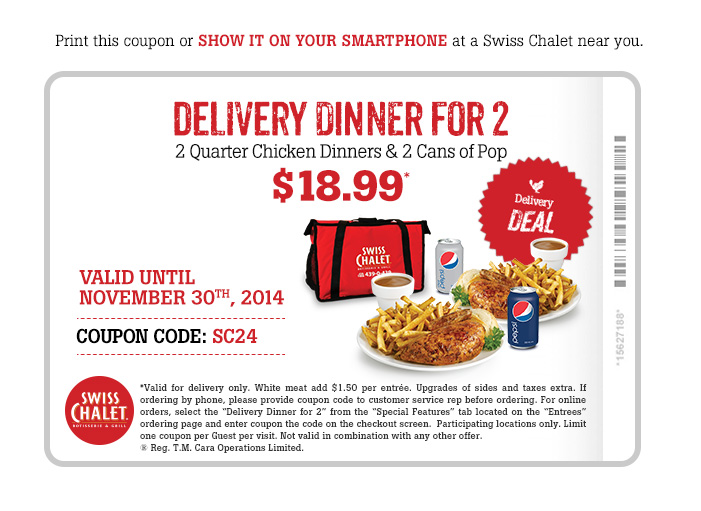 Delivery Dinner for 2 $18.99*. Print coupon.