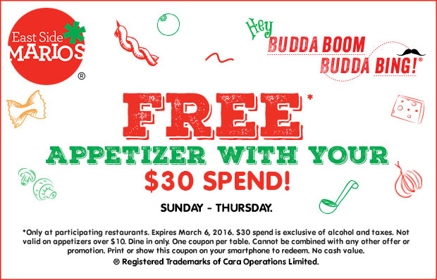 Free* appetizer with your $30 spend! (Sunday to Thursday) - Print coupon.