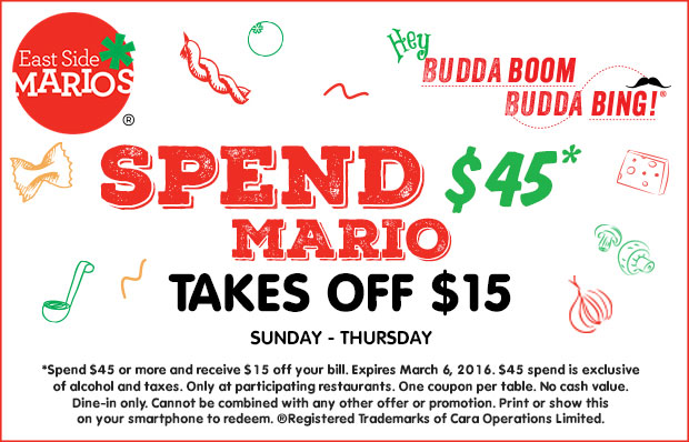 $15 off* When you spend $45 or more (Sunday to Thursday) - Print coupon.