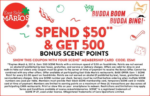 Spend $50** &amp[; get 500 bonus SCENE® points - Print coupon.